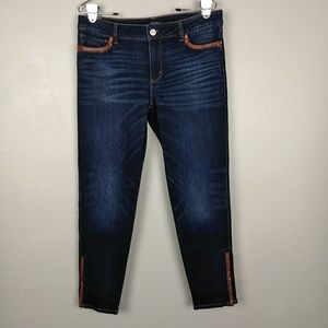 WHBM Faux Leather Trim Skimmer Jeans